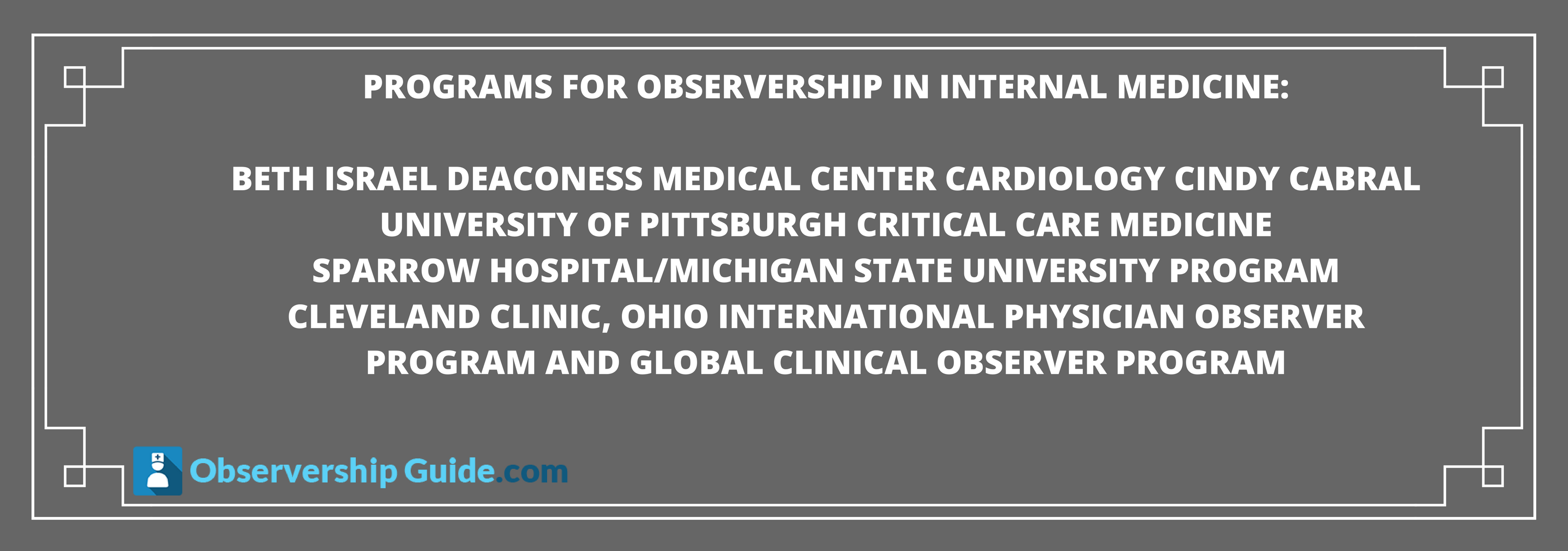 programs for Observership in Internal Medicine