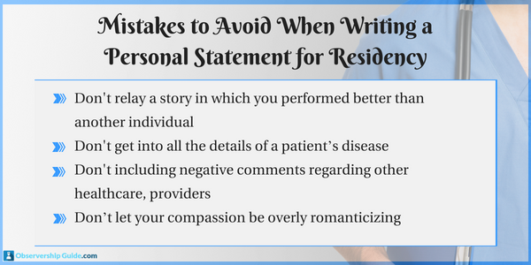 tips on writing a personal statement for residency