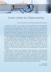 Cover Letter for Observership sample