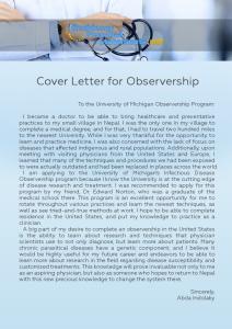 Cover Letter for Observership sample