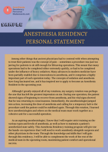 anesthesia residency personal statement sample